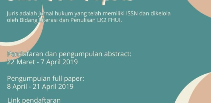 OPEN SUBMISSION JURIS VOLUME 9, NOMOR 1, JUNI 2019 – LK2 FHUI 2019